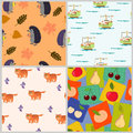 Pattern with animals and fruits bright design amusing Stock Photo