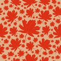 Pattern autumn leaves of orange maple on a cream background
