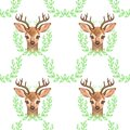 Pattern with Baby Deer. Hand drawn cute fawn on white background. Seamless background Royalty Free Stock Photo