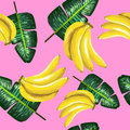 Pattern of bananas and green leaves on a pink. Tropical background.