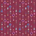 Pattern with beads on thread abstract background of circles and rhombus Stock Images