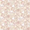 Pattern beige roses of painted in vintage style Royalty Free Stock Image