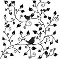 Pattern with a bird background and leaves Stock Images