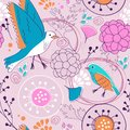 Pattern with birds and flowers beautiful seamless Stock Photo