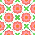 Pattern with bold stylized flowers in s style floral geometric seamless vector pink and leaves texture background for web print Royalty Free Stock Image