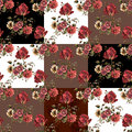 Pattern of bouquets patchwork seamless pattern.