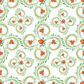 Pattern branches of curls with orange berries
