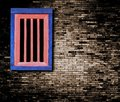 Pattern of Brick wall and wooden window,TH. Royalty Free Stock Image