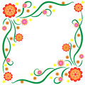 The pattern of bright stylized flowers