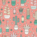 Pattern with cactuses Royalty Free Stock Photo