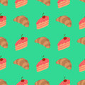 Pattern with cake and croissant