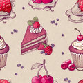 Pattern with cake illustrations hand drawn Stock Images