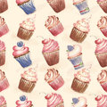 Pattern with cakes cupcakes on a light background tender Royalty Free Stock Photo