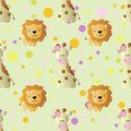 Pattern with cartoon cute toy baby giraffe