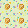 Pattern with cartoon cute toy baby lion