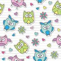 Pattern with cartoon owls Stock Image