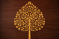 Pattern carve gold tree on wood texture Royalty Free Stock Image