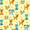 Pattern with cats dogs and birds vector cartoon seamless funny Stock Images