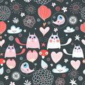 Pattern of the cats and hearts Stock Images