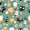 Pattern of cats and owls Stock Photo