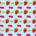 Pattern of cherries and strawberries Royalty Free Stock Photo
