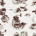 Pattern of coffee vector the theme Stock Photo