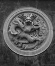 Pattern of coiled dragon on a stone carving traditional chinese style decoration the temple palace park etc Royalty Free Stock Photography