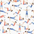 Pattern with Collection of beautiful fit girl doing pilates exercises