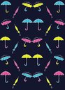 Pattern colored umbrellas on a blue background