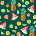 A pattern with the colored watercolor candied fruits, pineapple, lime and watermelon