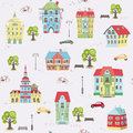Pattern with colorful houses vector seamless city landscape Royalty Free Stock Image