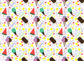 pattern with colorful ice cream and circles Royalty Free Stock Photo