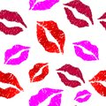 Pattern of colorful lips on white background. Vector illustration.