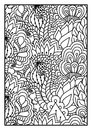 Pattern for coloring book. Black and white background with floral, ethnic, hand drawn elements for design.
