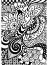 Pattern for coloring book. Ethnic, floral, retro, doodle, , tribal design element. Black and white background. Royalty Free Stock Photo