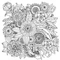 Pattern for coloring book floral retro doodle vector design element black and white background zentangle Stock Photography
