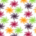 Pattern of colourful abstract geometric flowers.