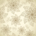 Pattern with contour flowers seamless on a beige background Royalty Free Stock Image