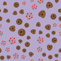 Pattern with cookies with a cup of tea and teapot