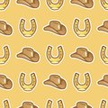 Pattern cowboy hat for horseman and horseshoe on yellow background. Stetson hat for cowboy and horse shoe seamless Royalty Free Stock Photo
