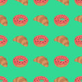 Pattern with croissant and donut