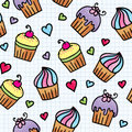 Pattern with cupcakes Royalty Free Stock Images