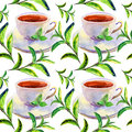 Pattern with cups seamless watercolor background and green leaves Stock Photos