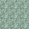 Pattern with curls and loops aqua blue grey waving seamless vector texture for spring fabric textile concept for hair salon spa Royalty Free Stock Photography