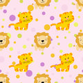 Pattern with cute african tiger and lion