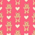 Pattern with cute bear and hearts. Lovely.