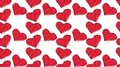 Pattern of cute, beautiful, loving, abstract, red, knitted threads of hearts painted with colorful scribbles with a red glow on a