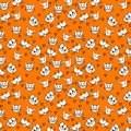 Pattern with cute cartoon cat faces and hearts