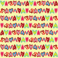 Pattern with cute colorful hearts
