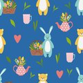 Pattern with cute funny blue hare and yellow bear animals